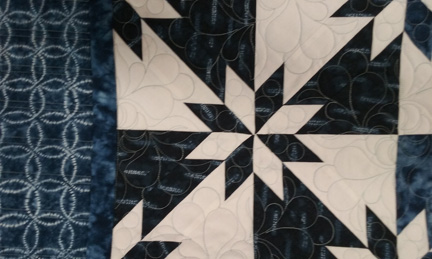 Hunter's Star blocks quilted.