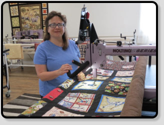 longarm rent time customer Heather at Delightful Quilting & Sewin Avon NY